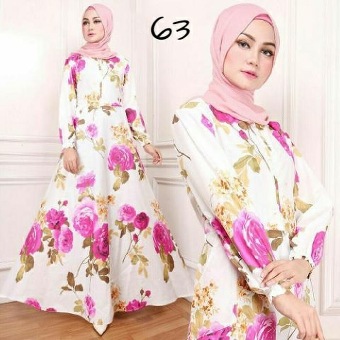 gamis maxy bunga ima flower pink baju wanita bagus murah maxi 63 TA