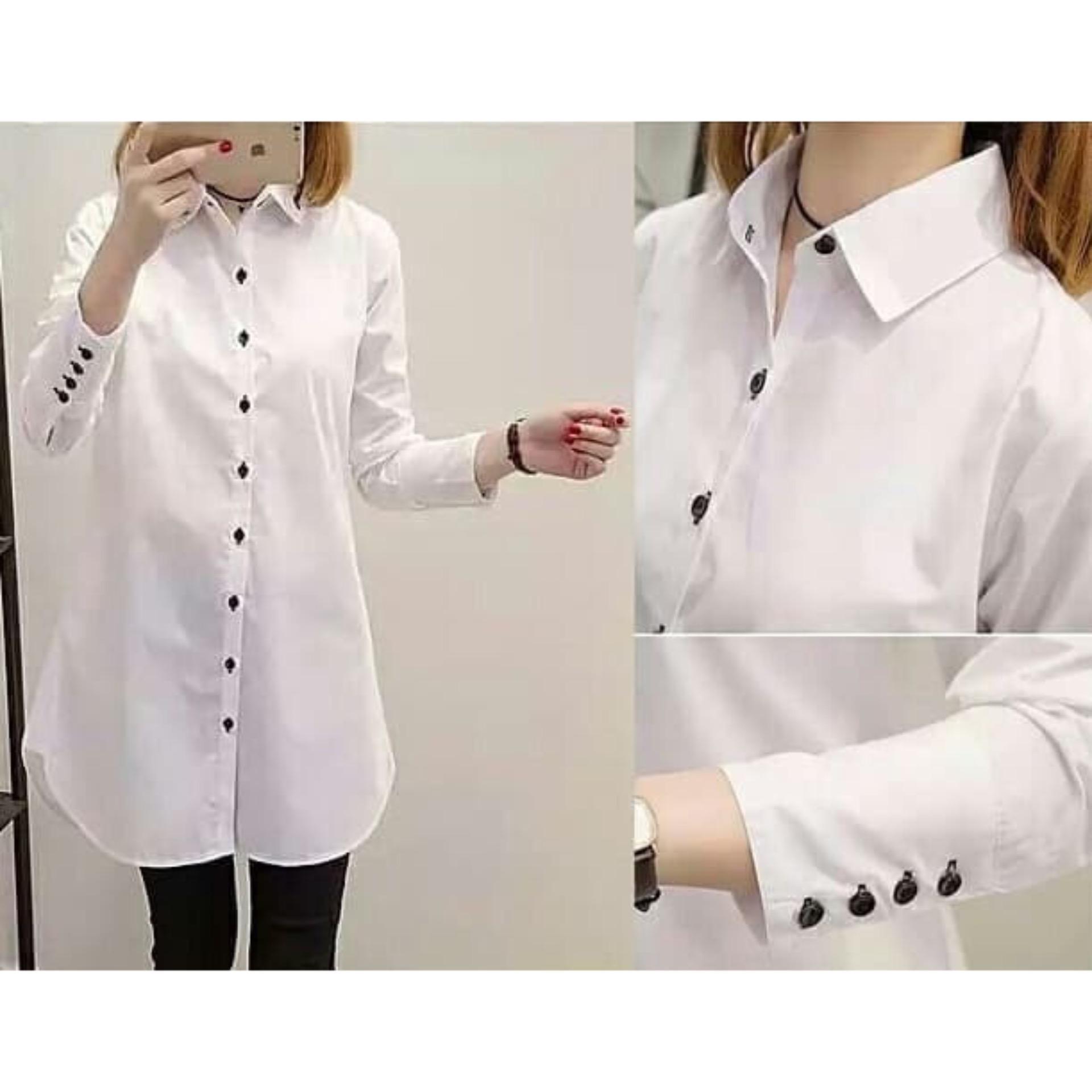 GA Fashion Kemeja Aqua Tunik Putih Baju Wanita / Blouse Korea / Atasan Wanita / Baju Formal / Kemej