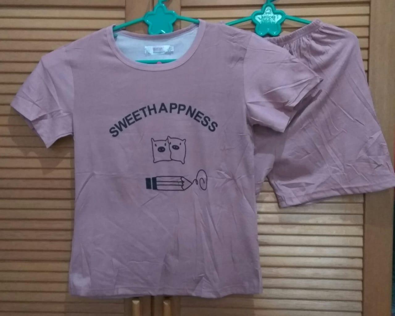 Cloth.88 Baju Tidur Piyama Wanita Setelan Kaos Celana Pendek Motif Sweet Happiness
