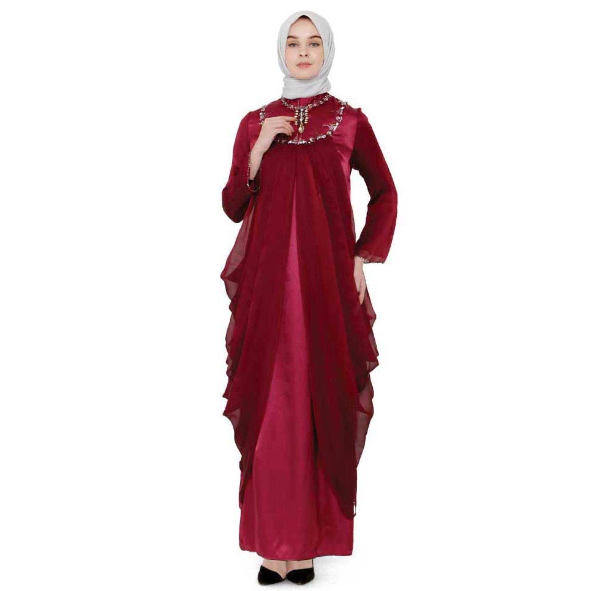 Baju Gamis Muslimah  Bahan VELVET HAIKON  -  MERAH