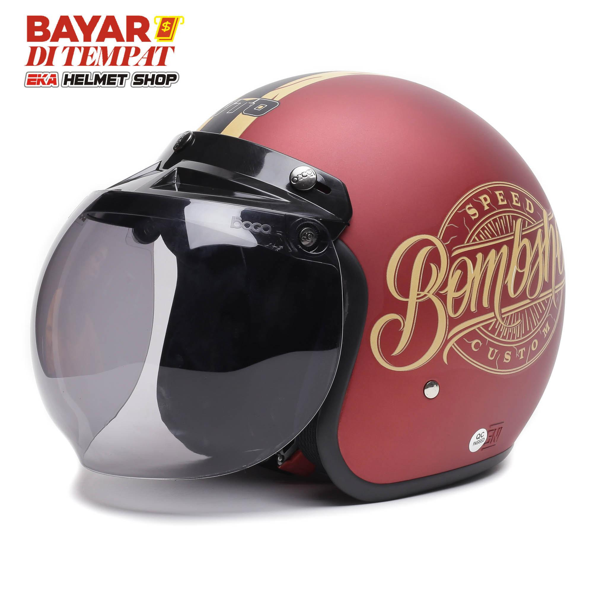 Wto Helm Bogo Retro - Bombshell - Candy Red Doff By Eka Helmet Shop.