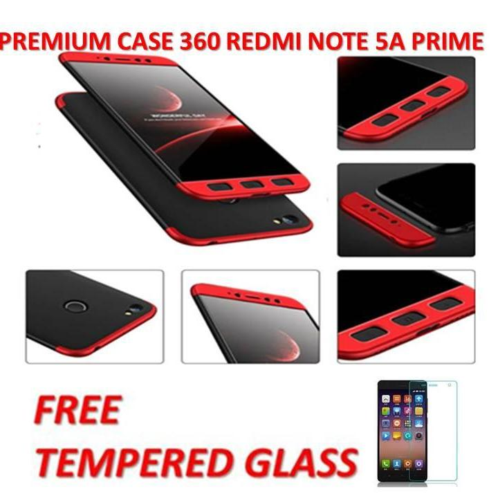 CASE HARDCASE HP 360  HITAM LIST MERAH /PREMIUM FRONT BACK 360 DEGREE FULL BODY PROTECTION CASE QUALITY GRADE A FOR  XIAOMI REDMI NOTE 5A PRIME / CASE DEPAN BELAKANG HITAM LIST MERAH FREE TEMPERED GLASS