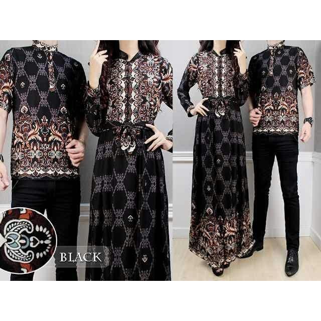 Kenzmal Maxi Gamis Dress Muslim Batik Couple Pasangan Rohali Untuk Pesta