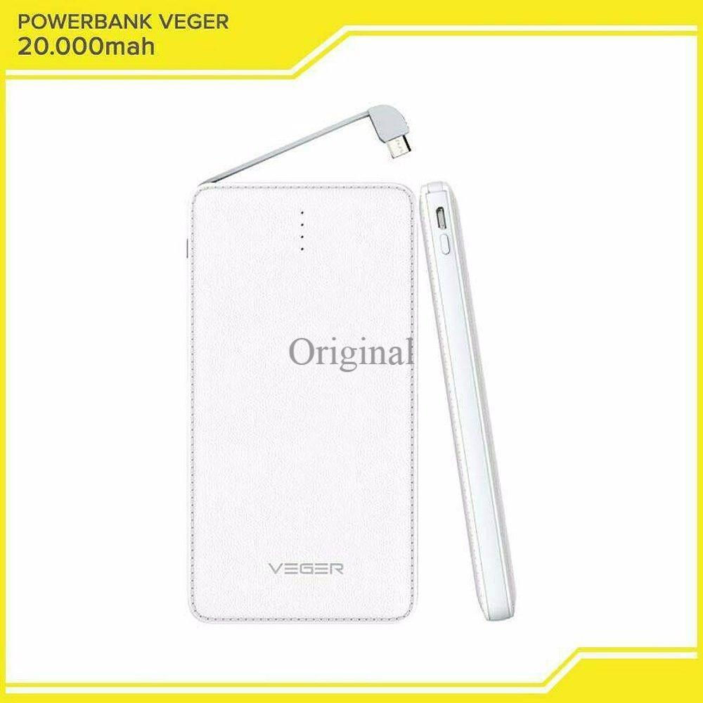 Powerbank Veger 20000 mAh Portable Slim Real Capacity - Original Garansi Resmi 1 Tahun