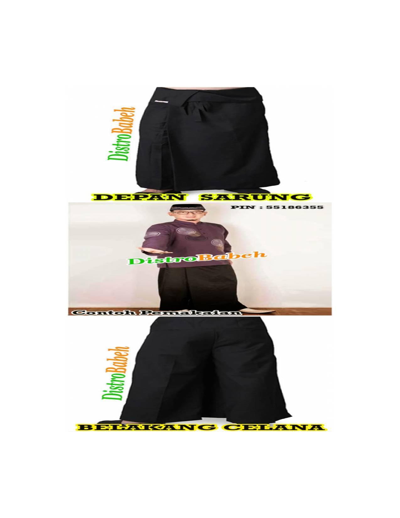 TERMURAH Celana Sarung UJE   Warna HITAM   Busana Muslim   Baju Koko  