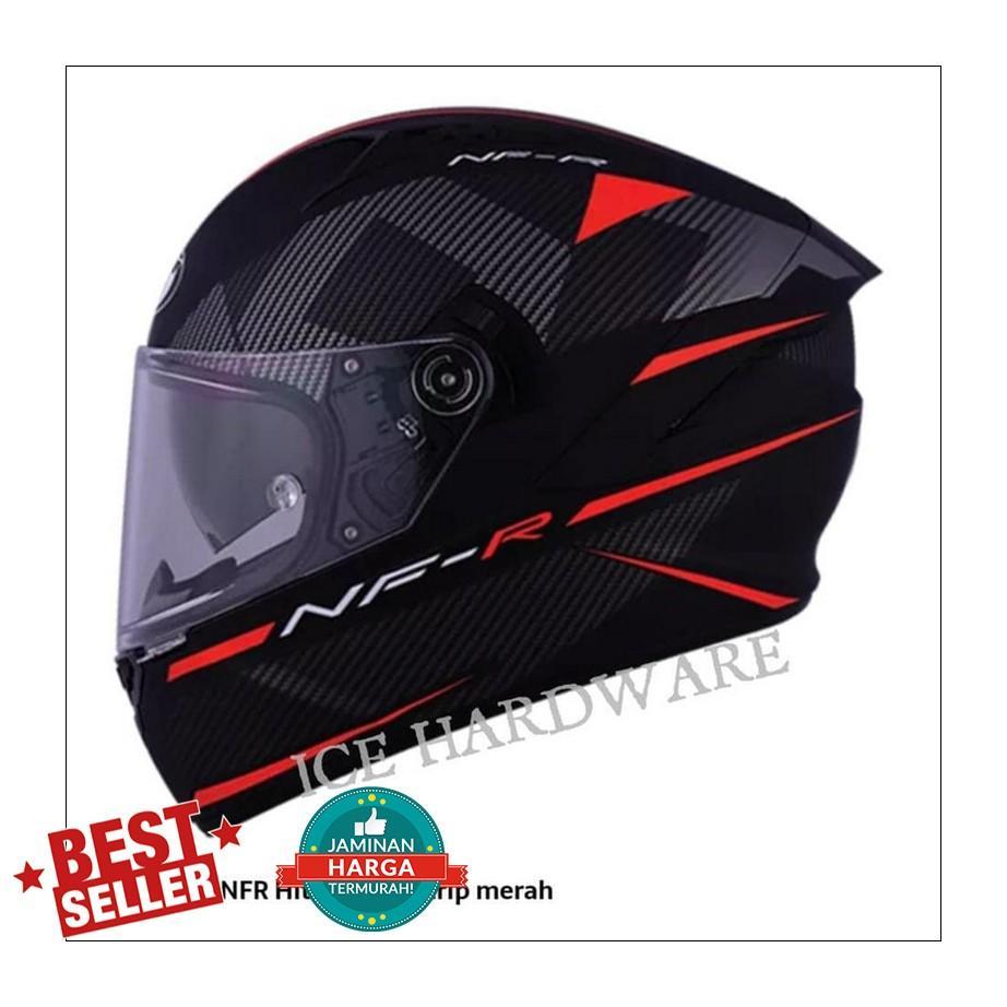 Helm Motor Full Face Fullface KYT NFR Casco Logos Black Red Doff Murah