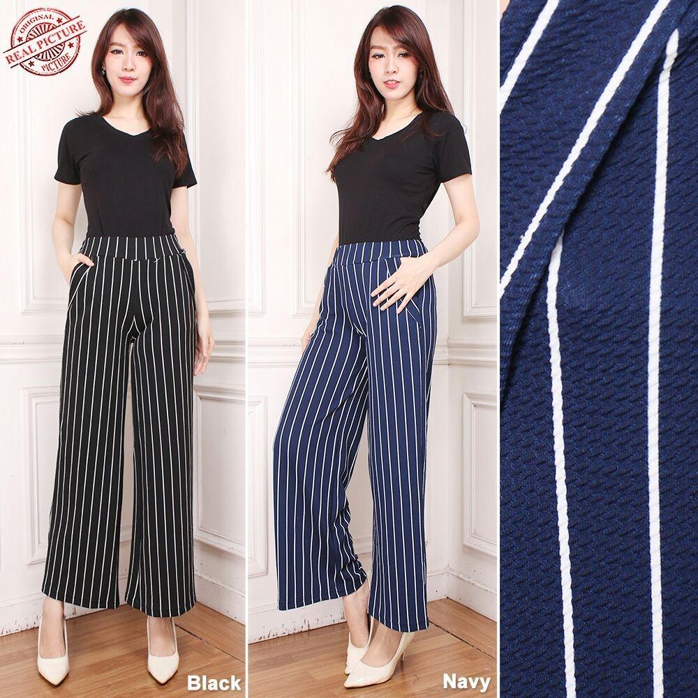 168 Collection Best Celana Panjang Hajfi Whiteline Longpant Jumbo Wanita