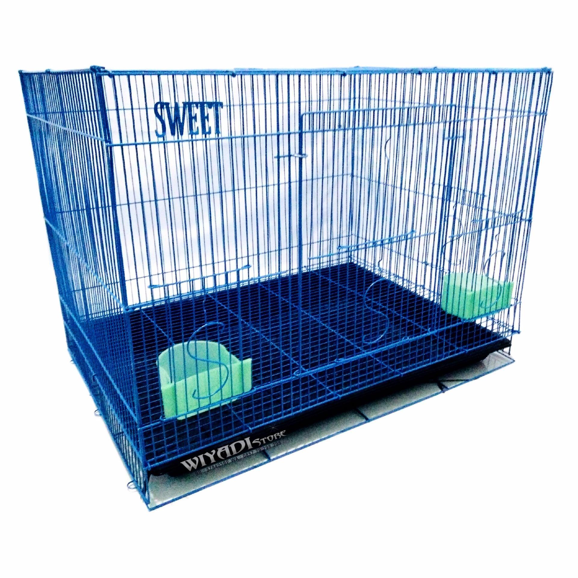 WiyadiStore - [K12] Kandang Kucing Besi Lipat Besar 60P - Biru