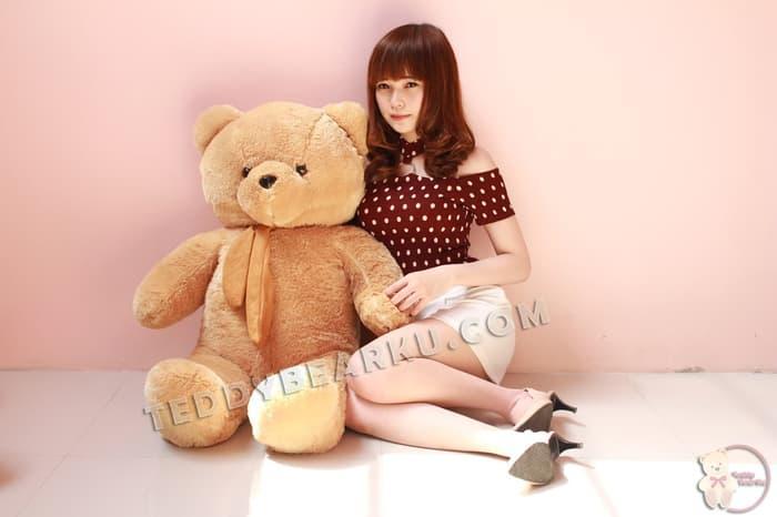 Boneka Teddy Bear Jumbo 1 Meter KARAMEL Syal Model Teddy Bear Import