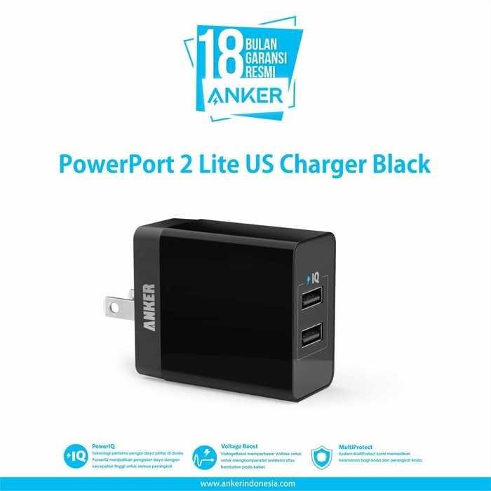 Charger xiaomi/Charger samsung/Charger mobil/Charger motor/Charger hp/Charger iphone/Charger oppo/Charger xiaomi original fast charging PowerPort 2 Lite US Charger Black With Offline Packaging V3 A2129J11