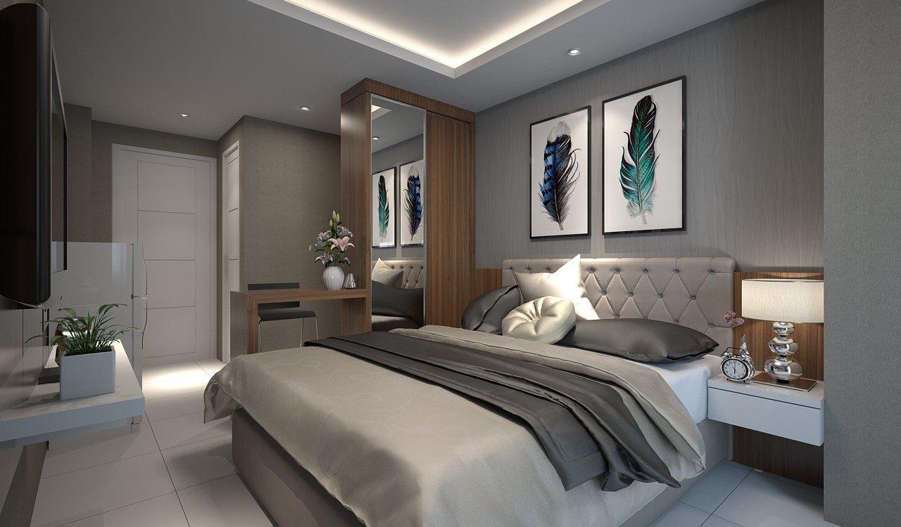 FCENTER Paket EXCUSIVE Furnish Apartment Studio 18 M2 Bonus TV/ AC/Kulkas/Bed Cover/Hiasan Dinding