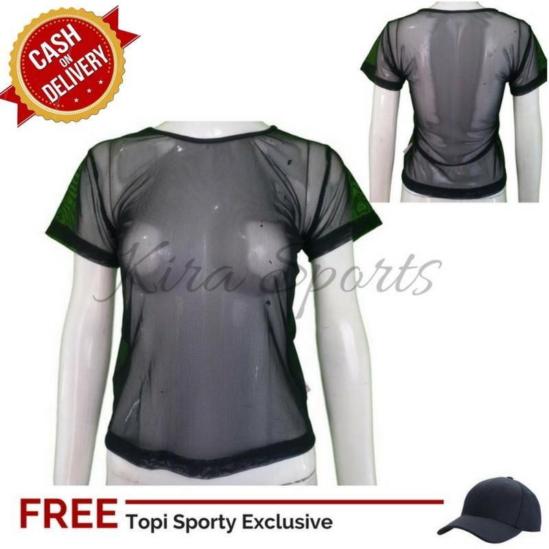 Sporty Tanktop Senam Wanita Zumba / Baju Kaos Olahraga Wanita Gym / Pakaian Atasan Jaring Tile Sobek Untuk Fitness Senam Joging Yoga Lari + Free Topi Sport SPF10803FTS - Bisa COD