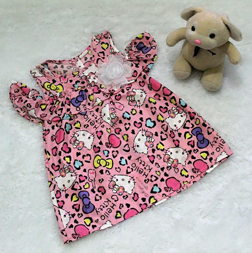 All Size 3-12 Bulan / Dress Baju Bayi Anak - Dress Off Shoulder Kitty Full colour