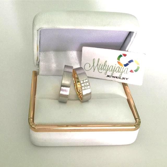 Cincin Kawin Nikah Tunangan Emas Palladium - Silver Custom