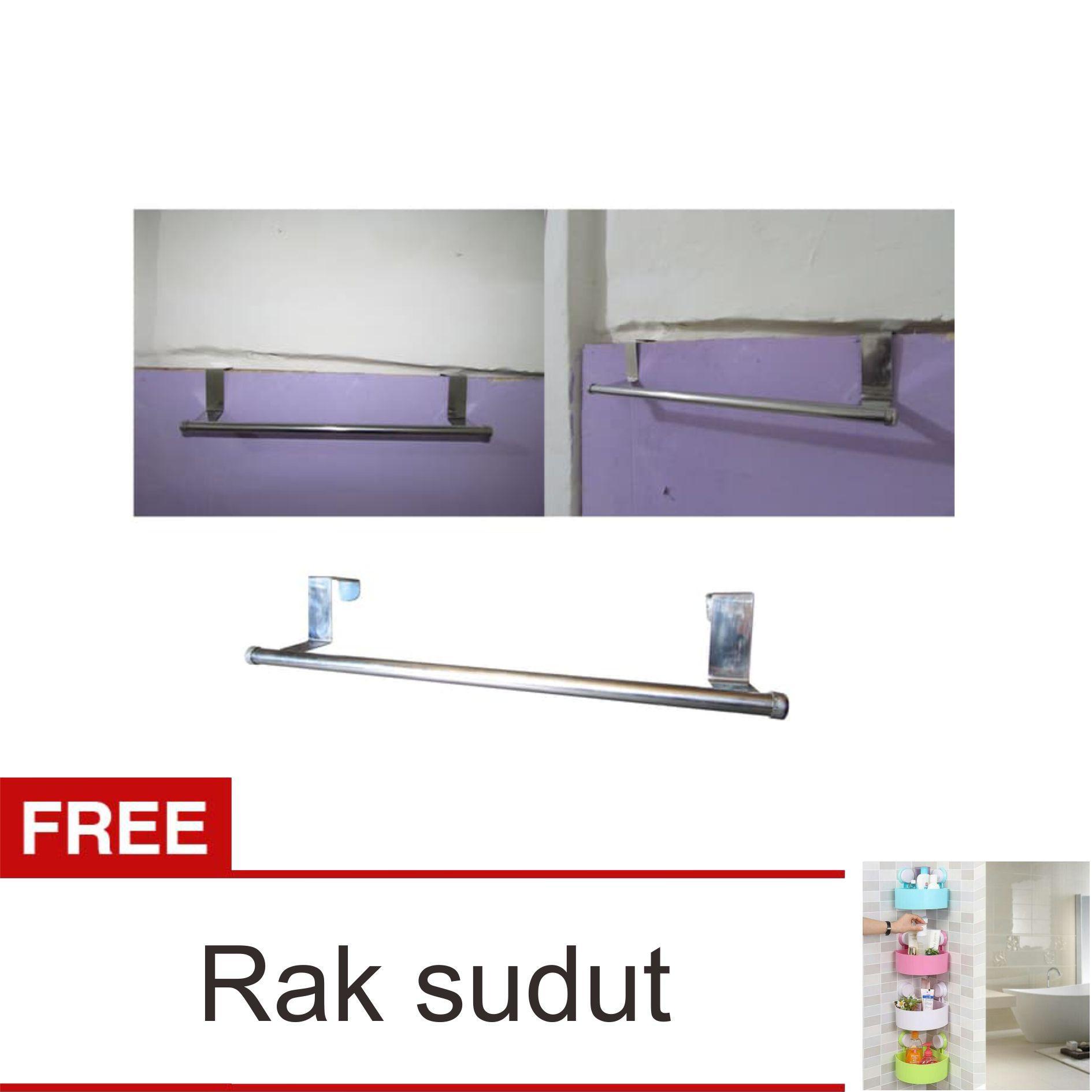 Lanjarjaya Stainless Steel Gantungan Handuk Bar Kamar Mandi Tanpa Paku + Rak Sudut