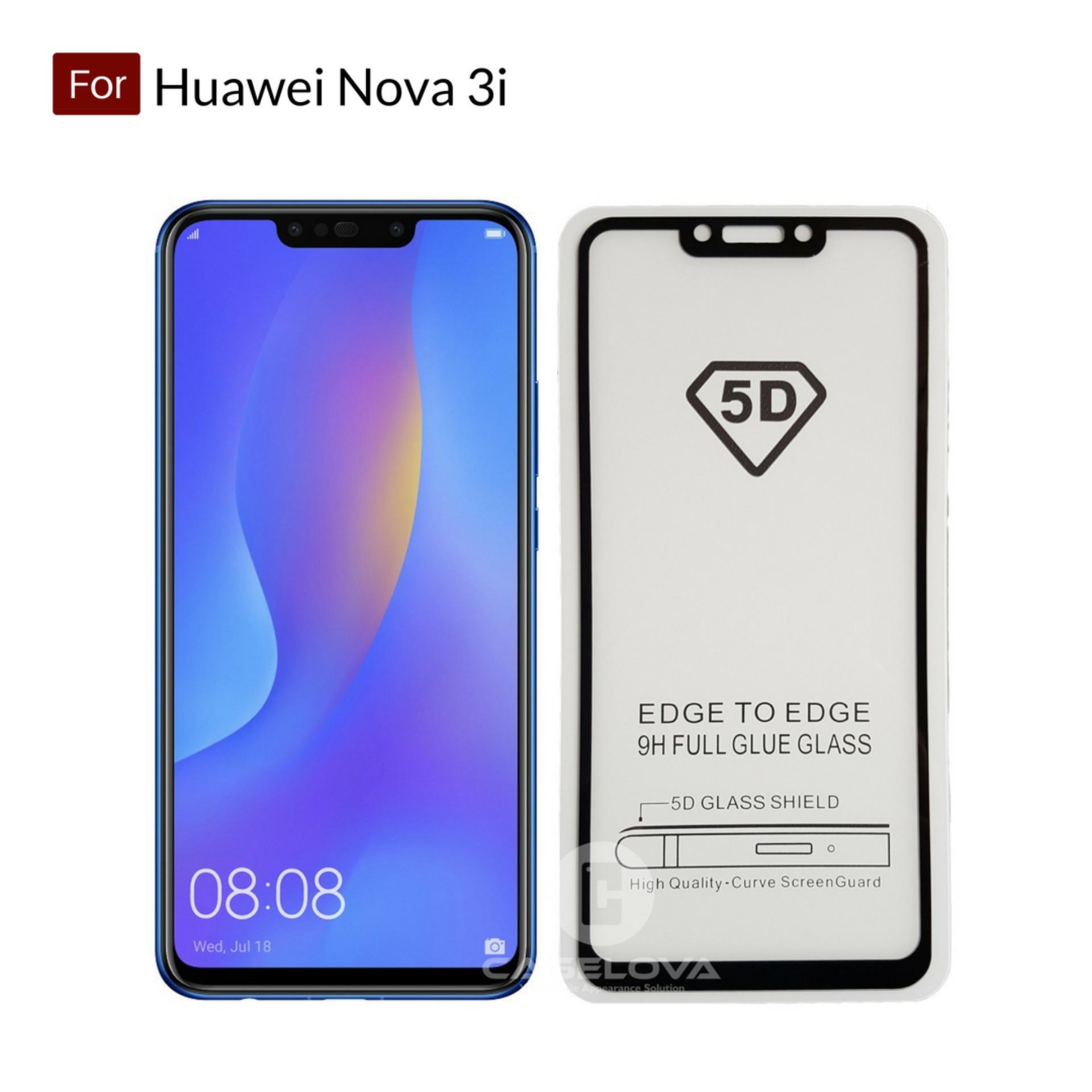 Caselova Premium Full Cover Tempered Glass 5D Round Curved Edge For Huawei Nova 3i - Black