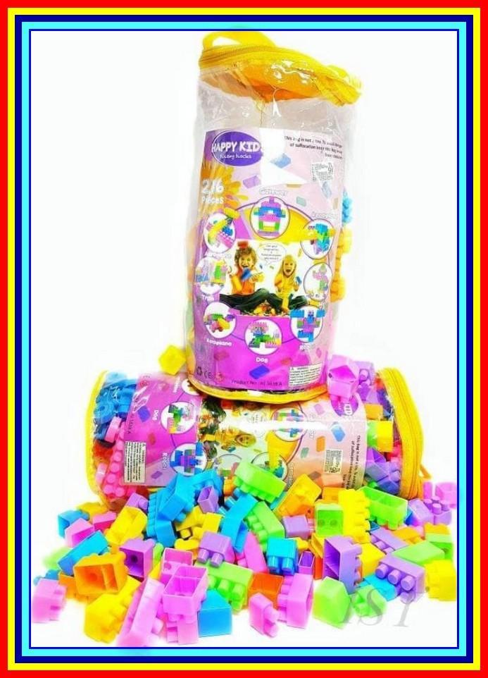 Mainan Edukasi Anak - Happy Kids Block Lego Building Blok Isi 216 Pcs