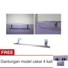 Lanjarjaya Stainless Steel Gantungan Handuk Bar Kamar Mandi Tanpa Paku + Gantungan Model Cakar 4 Kait