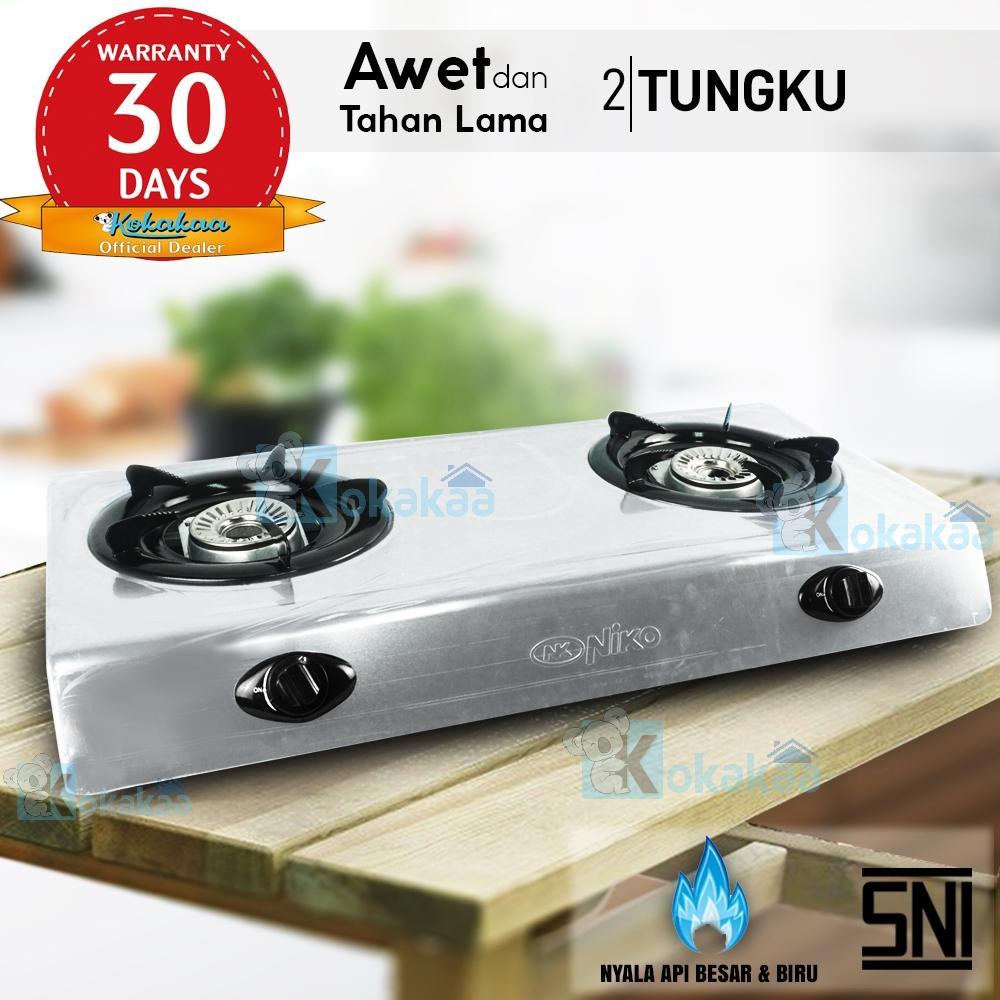 Niko Kompor Gas Teflon  2 Tungku NK-666x Stainless - Silver
