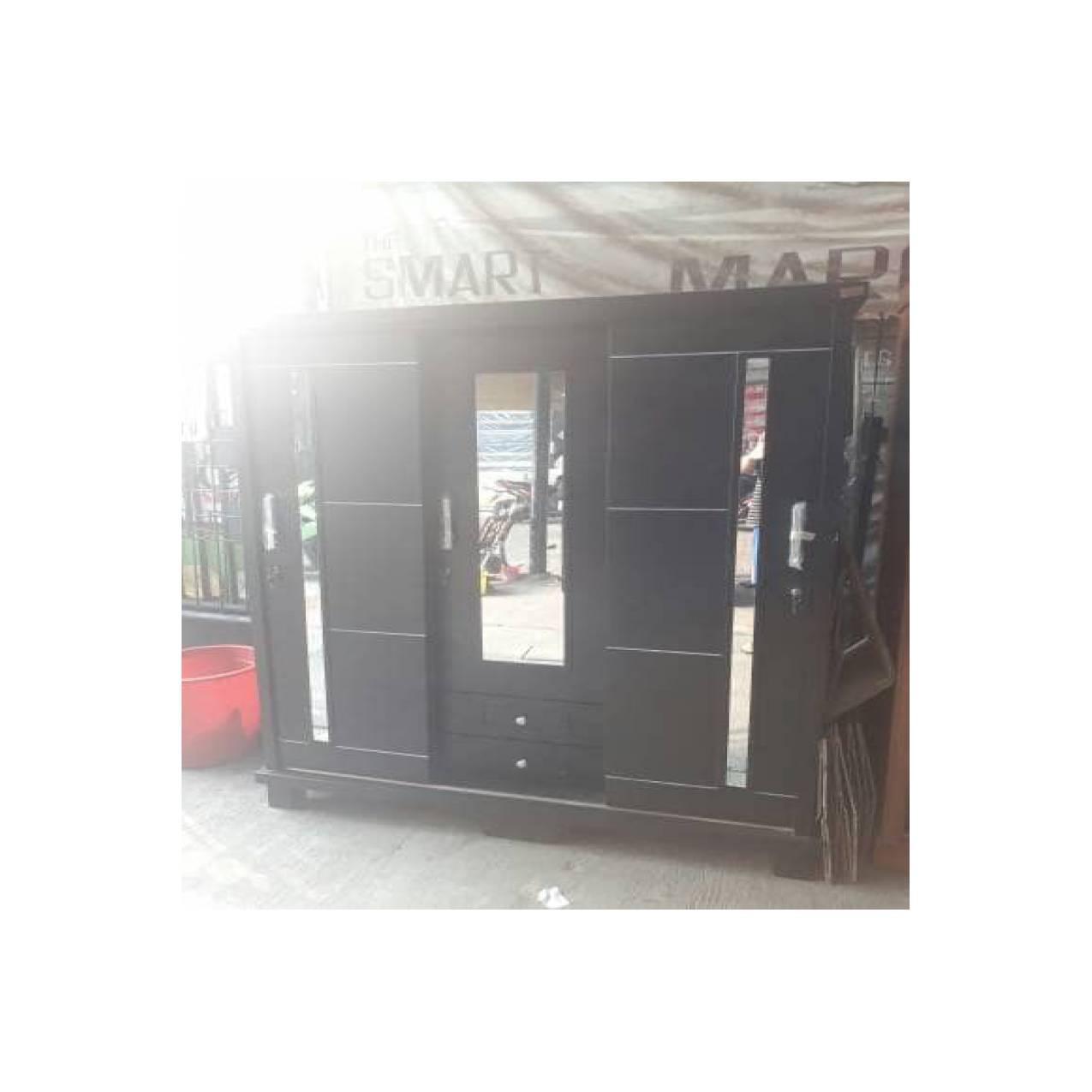 lemari 3 pintu sliding blockteak hitam minimalis