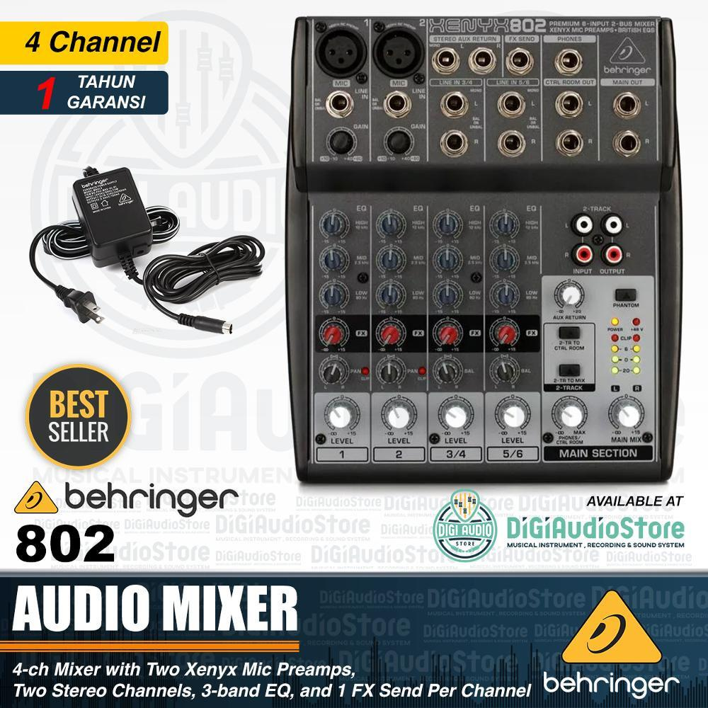 Audio Mixer behringer Xenyx 802 - 4 Channel - Phantom Power untuk Condenser Microphone dan DI Box