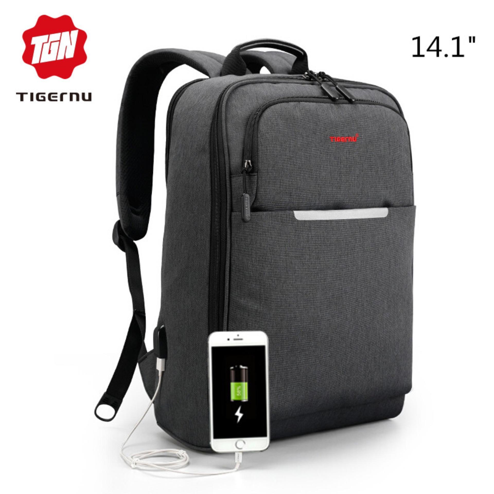 Tigernu Baru USB Pengisian Laptop Ransel Cocok untuk 12-14 Inch Laptop 3305-Intl