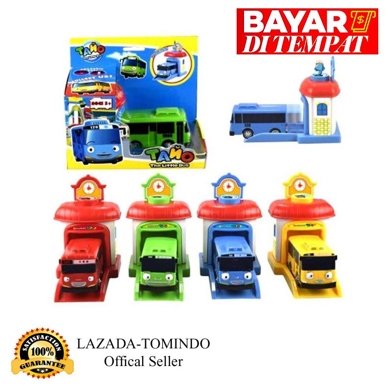 Tayo The Little Bus Garasi - 1 set 4 pcs (Paking Dus Per Pcs) 2001/ 333-001A (Pull Back Car Play Set Mainan Anak Mobil Bis Karakter Tayo / mobil mobilan
