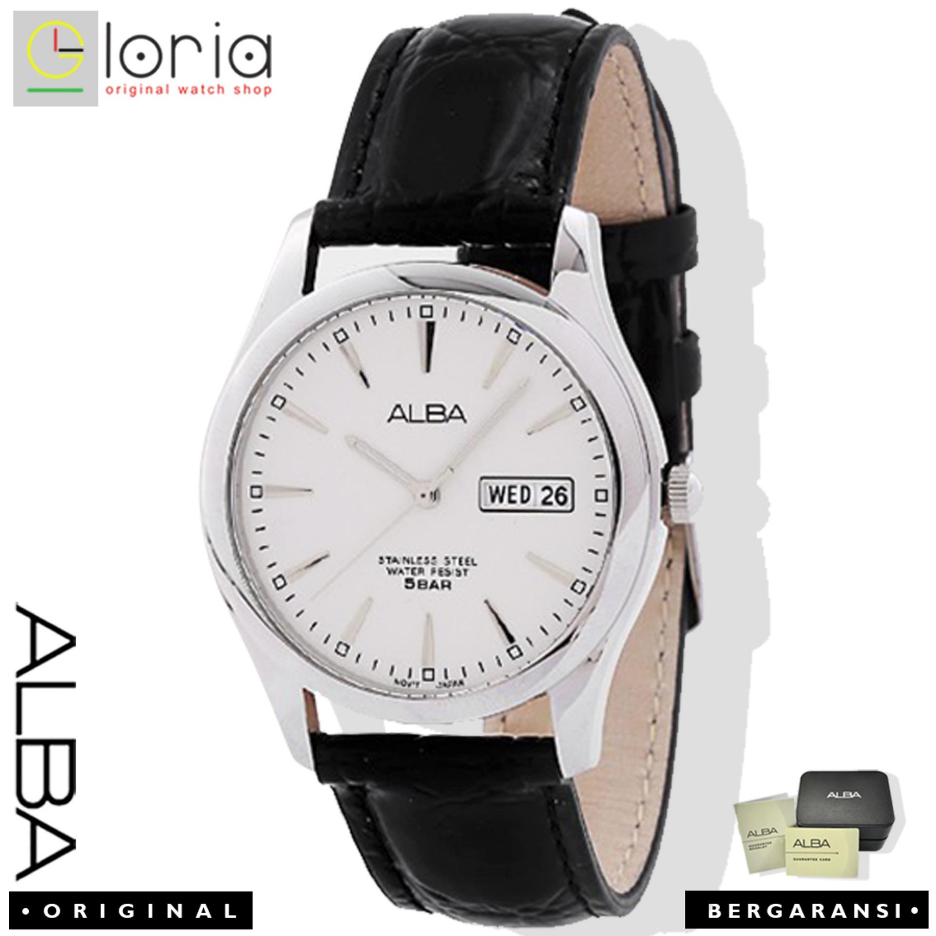 Alba Analog AXND63X1 Jam Tangan Pria - Strap Leather - White Black