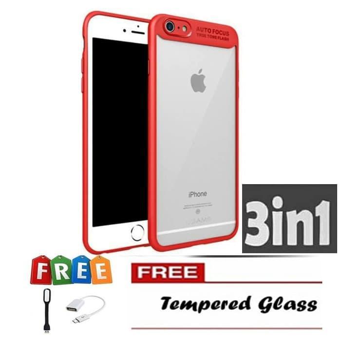 Galeno Auto Fokus Transparant 3in1 Glass Universal OTG Cable Micro Redmi 4A - Merah