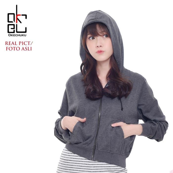 Diskon DELLA JACKET -Jaket Crop Tangan Panjang Hoodie Wanita Fashion