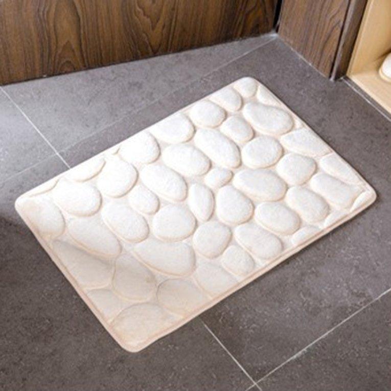 Non-Slip 3D Batu Warna Solid Rumah Karpet Kamar Mandi Dapur Keset