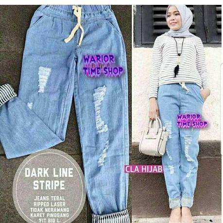 Darkline Pants Jeans Celana Panjang Cewek Kulot Wanita Muslim Joger Muslimah Murah Simple Trend 2018