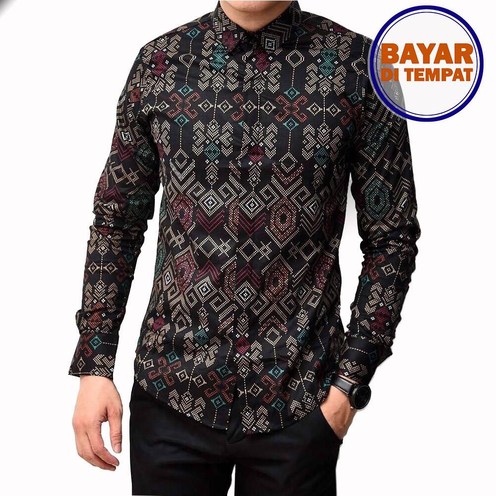 Maciku Kemeja Batik Pria Lengan Panjang Batik Songket Long Black