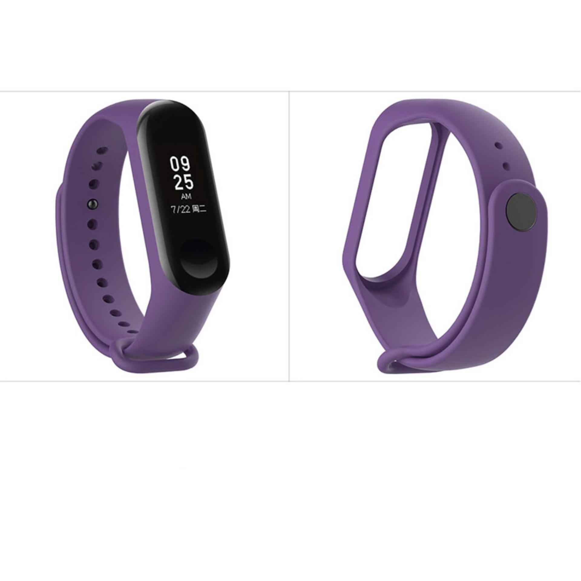 LOLLYPOP Silicone Strap Xiaomi Mi Band 3 Purple Ungu Single Color Tali Gelang