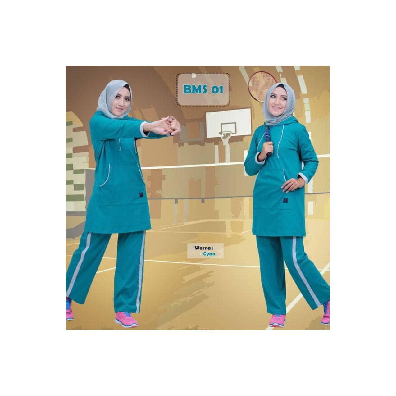 Baju Olahraga Wanita Lengan Panjang Baju muslim Sport (BMS) 01 XL