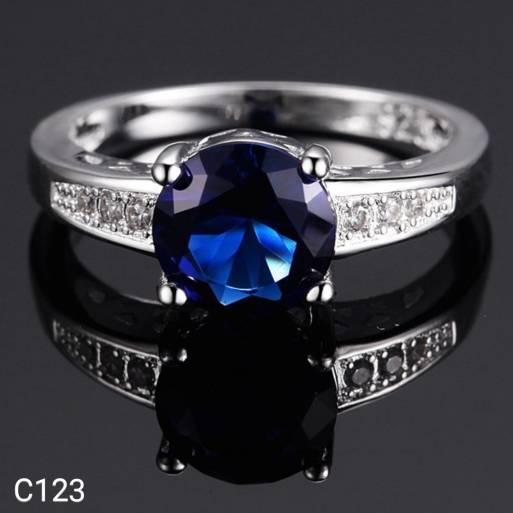 Diskon Promo Perhiasan Aksesoris Cincin Perak Silver 925 Lapis Emas Putih Batu CZ Blue Sapphire C123 Murah