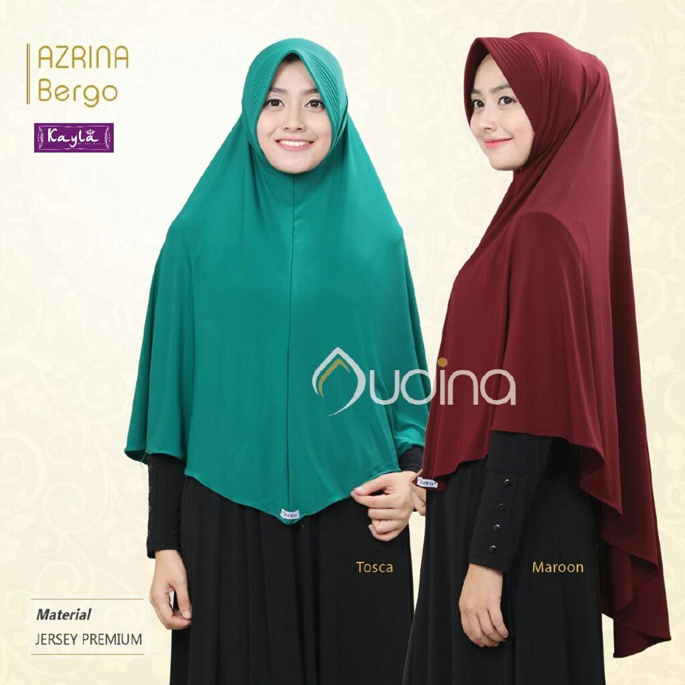 Khimar Jersey Jumbo Azrina Pet Hijab Bergo Syari Instan (Abu)