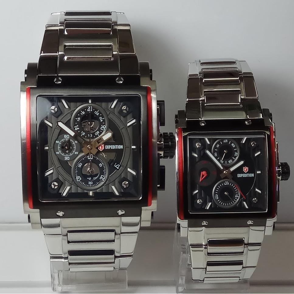 Expedition Jam Tangan Couple Expedition E6731MC/BF Silver List Red Stainless Steel