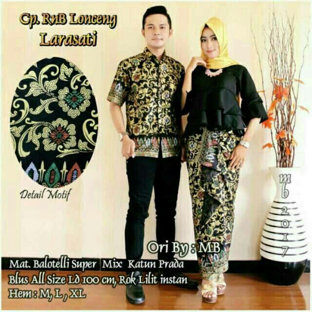 TERMURAH - Baju batik couple - baju muslim wanita terbaru 2018 - kebaya coupel Modern - Couple Batik - Batik Sarimbit - Batik Kondangan - Baju batik Lonceng Larasati Hitam