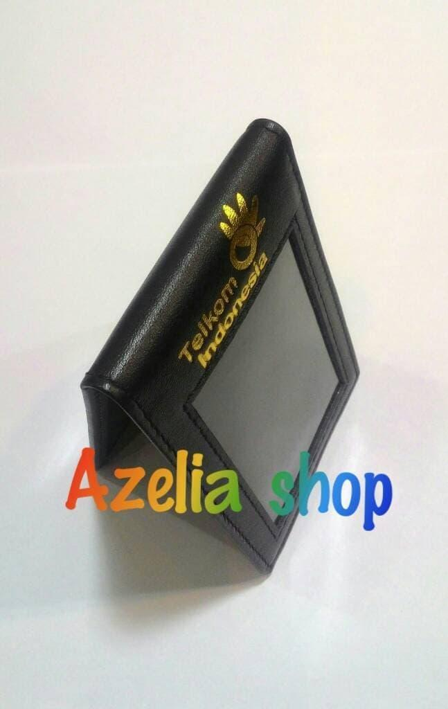 ID CARD HOLDER/NAME TAG/TEMPAT ID CARD KULIT LOGO TELKOM - Hitam