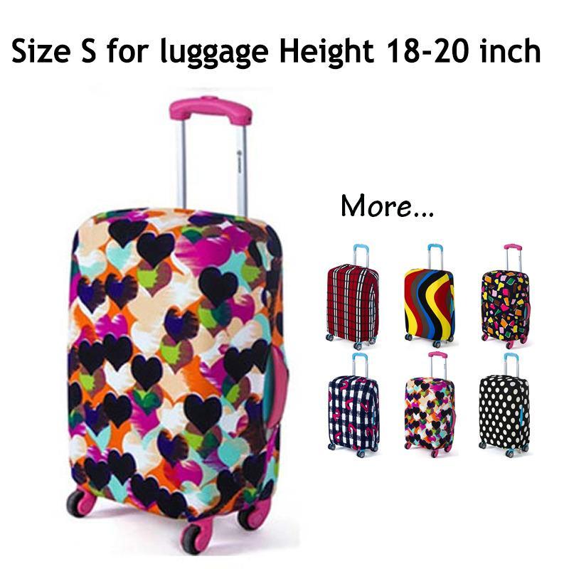 Koper Cover, Fabric Stretchable Tahan lama Luggage Cover Pelindung Dustproof untuk 18-20 inci Koper, Aksesoris Perjalanan (gaya: LOVE-S)-Intl