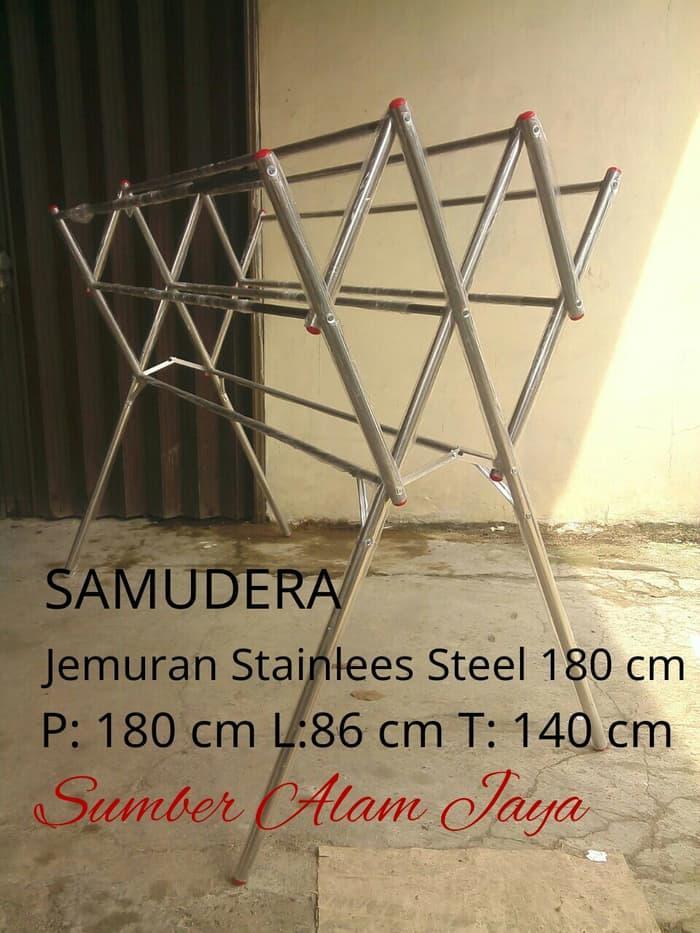 Jemuran Baju Stainless Steel SAMUDERA 180 ||| tali jemuran gantung baju handuk baju stainless