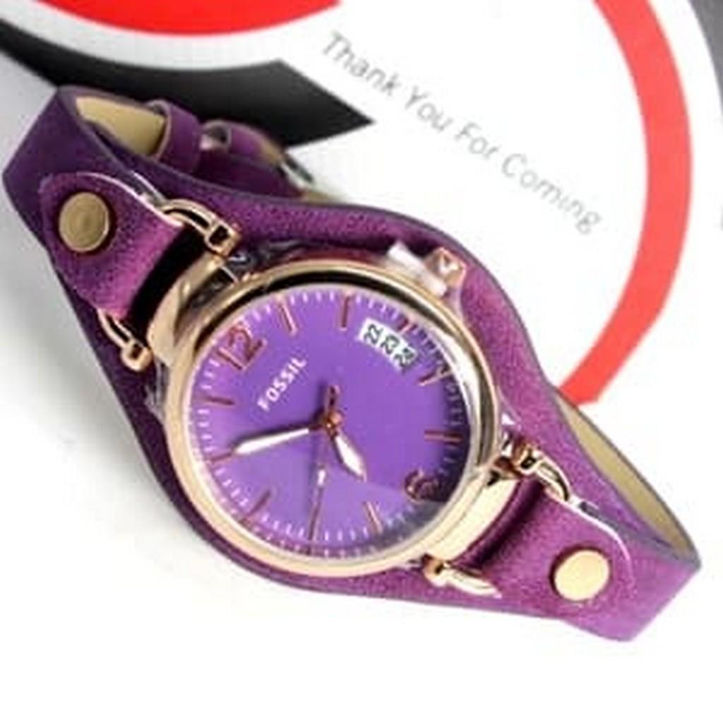Fossil Jam Tangan Wanita Es2830 Georgia Bone Leather Watch Double Wrap Collectible Charm Set Es 3964set Red Ladies Purple Diskon Murah