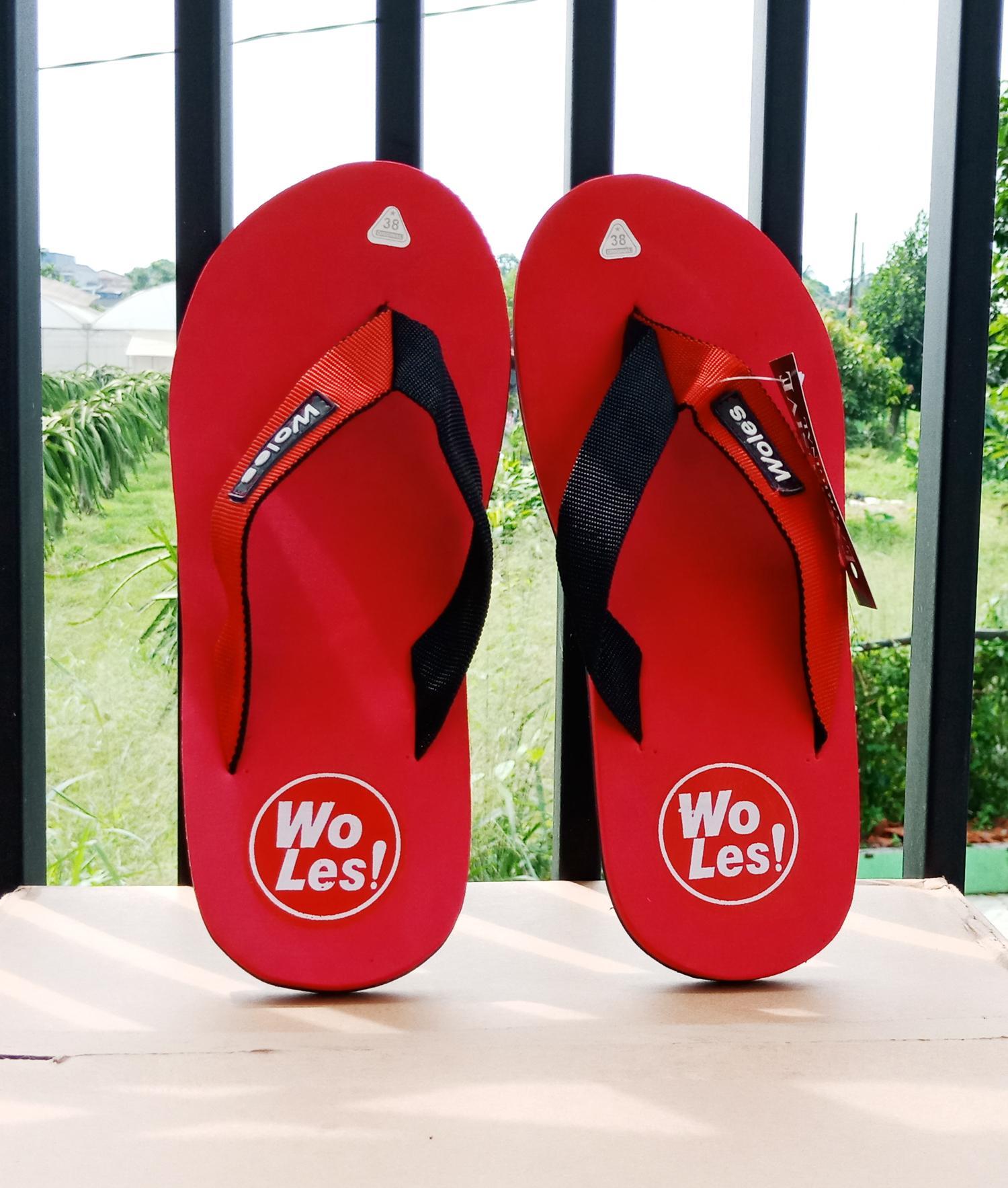 Sandal Woles Exlusive Original Bawahan Hitam Alas Merah (sendal jepit  Wloes spon)