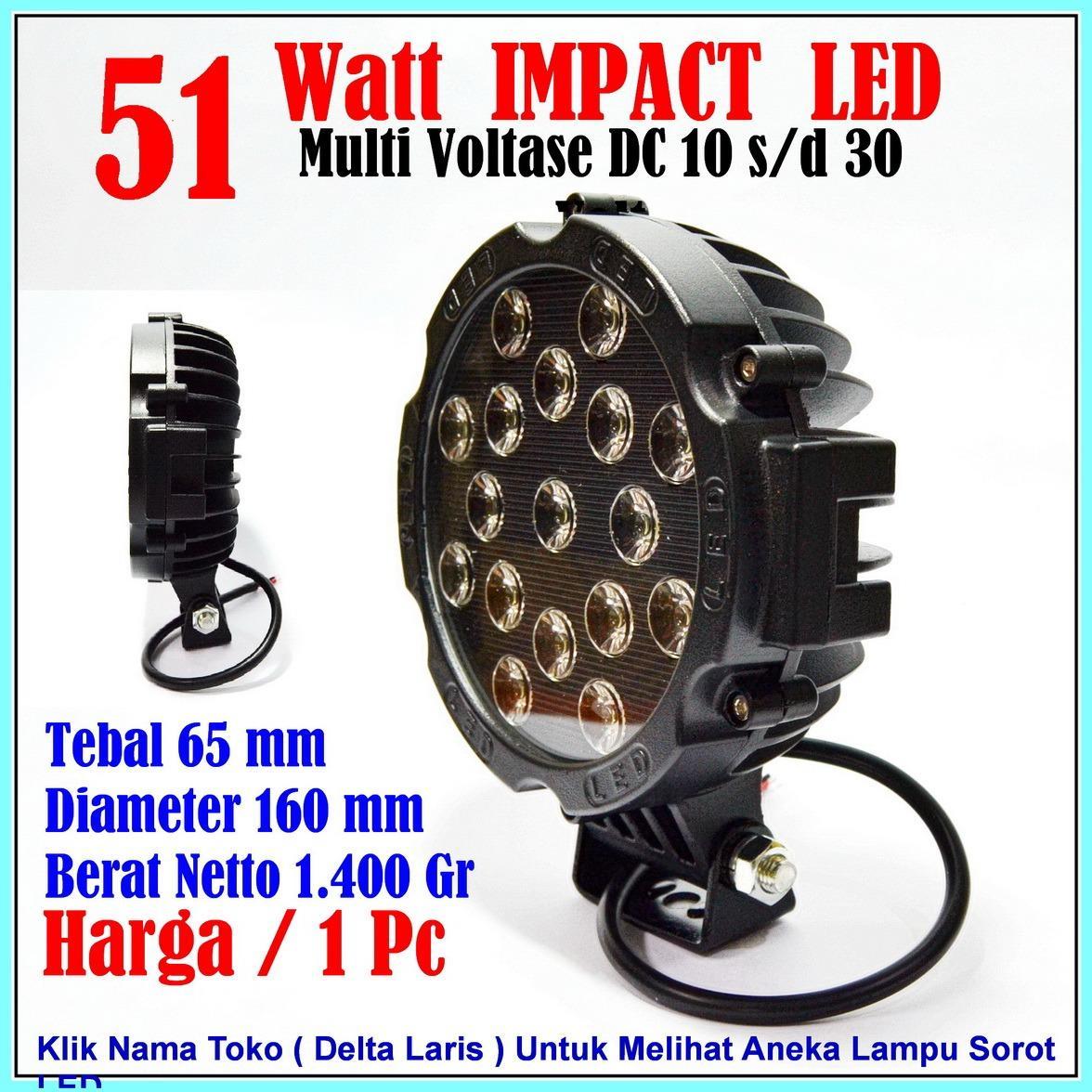 Lampu Sorot LED 51 Watt Black Lampu Tembak LED Spot Light Work Light LED 51W 12 V - 24 V 12 Volt - 24 Volt untuk Mobil Motor Offroad Truk Alat berat