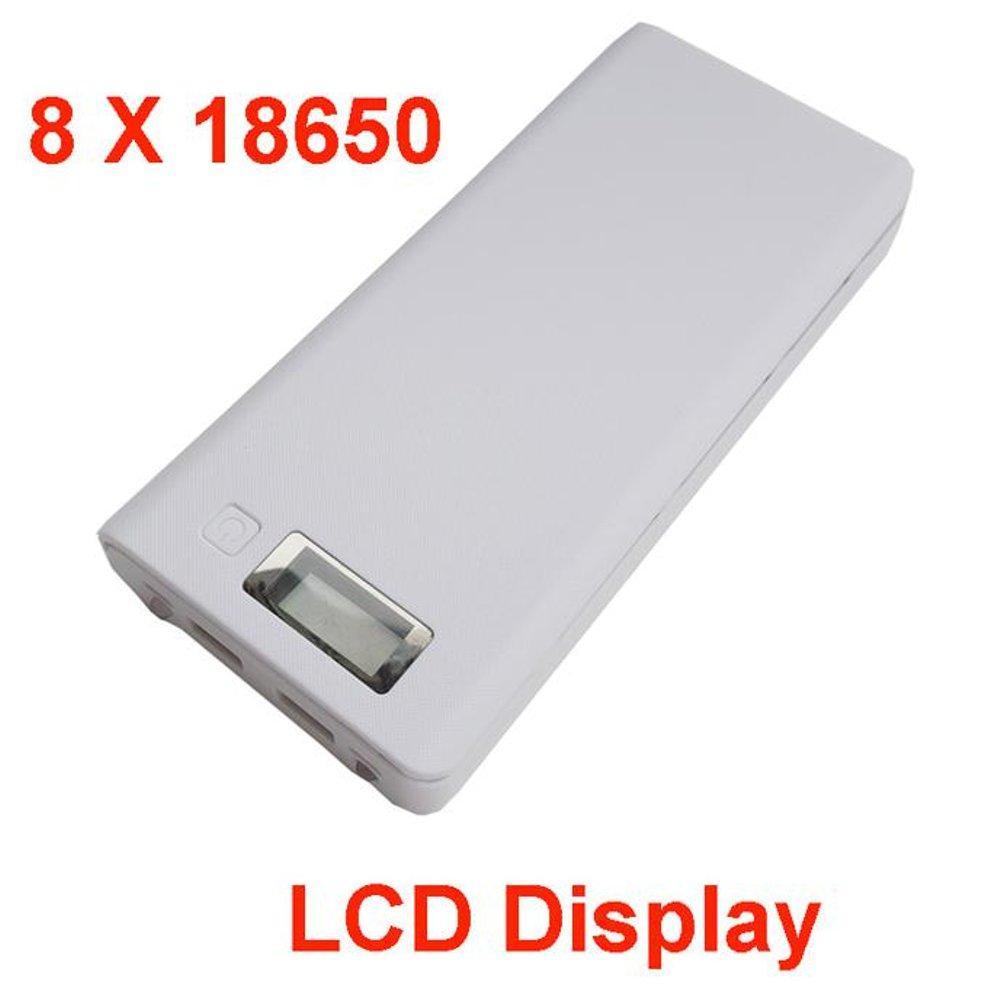 PAKET DIY Power Bank Case 2 USB Port & LCD 8x18650 + Baterai AWT Hitam 8 Pcs
