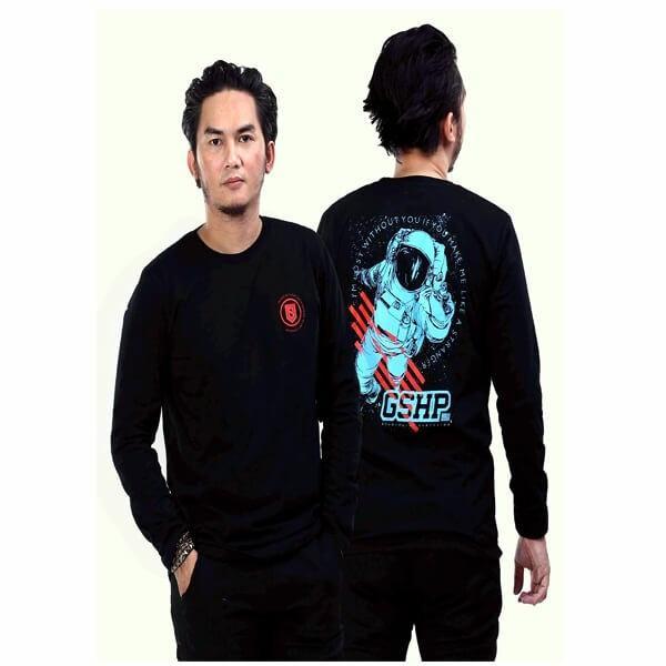 G-shop Kaos Distro Lengan Panjang Pria Hitam - JJS 0840