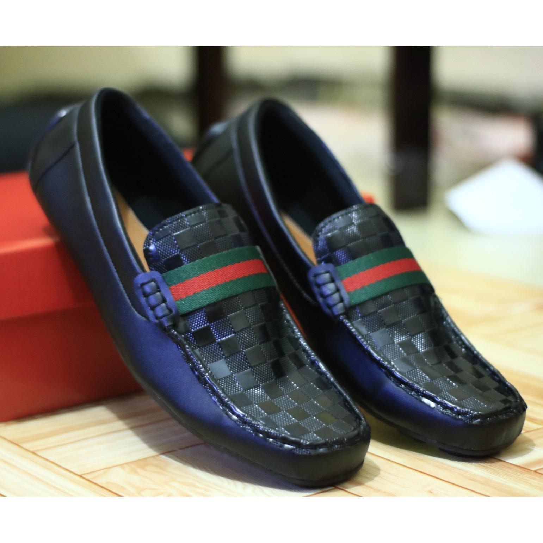 sepatu casual gucci pria Sepatu Kantor formal mocasin slip on flat shoes slop pria kickers loafers adidas (Lokal)