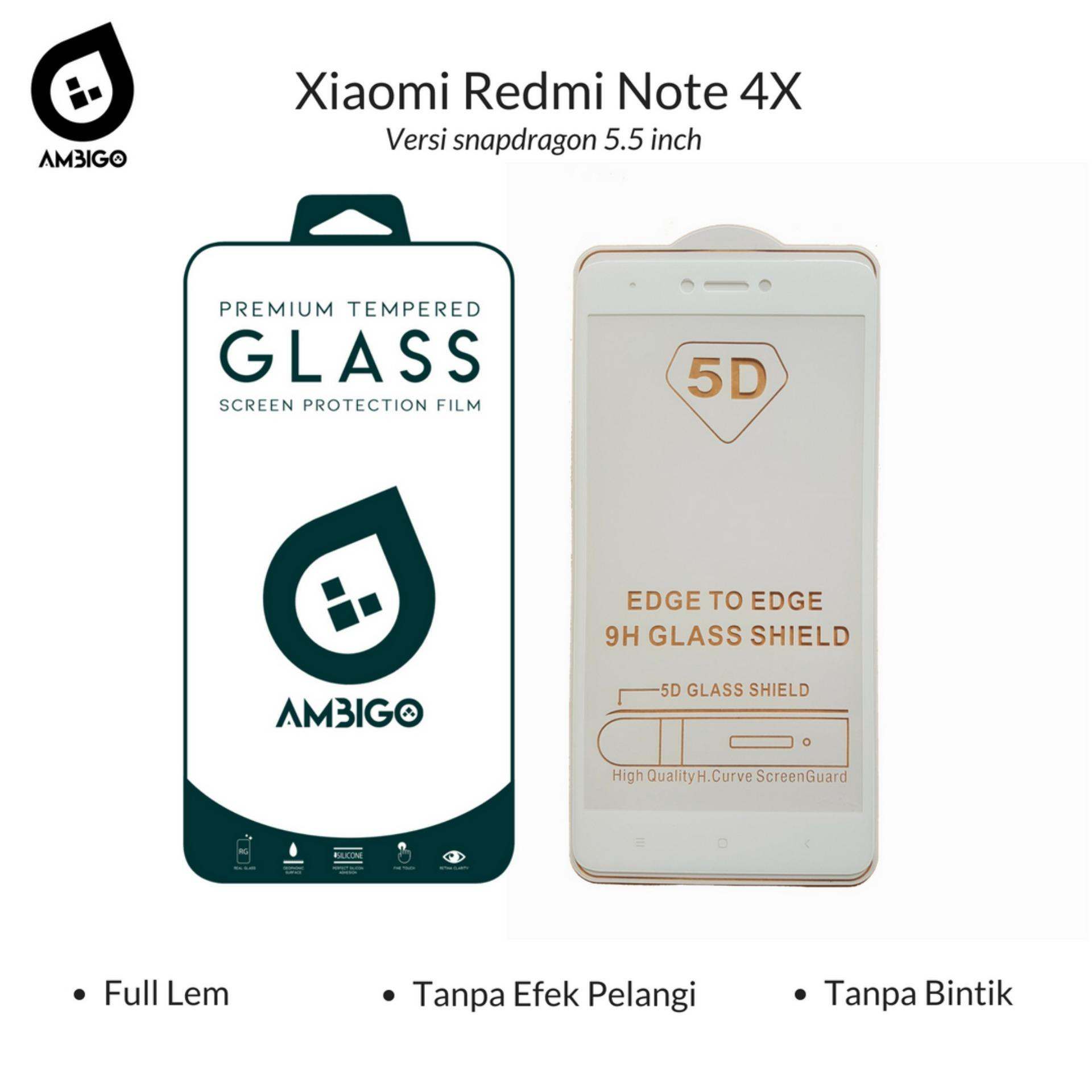 Ambigo 5D Tempered Glass Screen Protector Xiaomi Redmi Note 4X, Redmi Note 4 Versi Snapdragon ( 5.5 inch ) Full Cover Glue - White