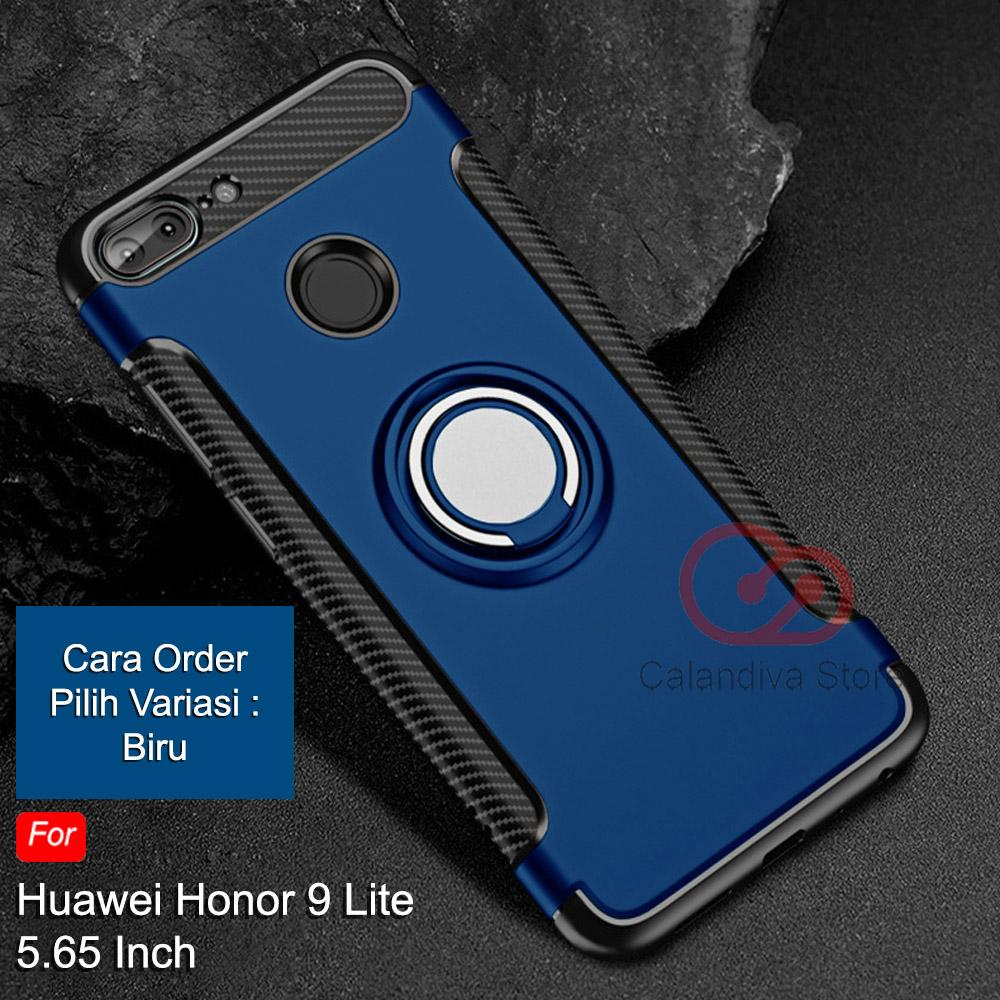 Calandiva Ring Carbon Kickstand Hybrid Premium Quality Grade A Case for Huawei Honor 9 Lite 5.65 In